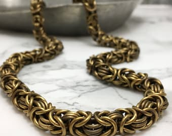 Men's Chain Necklace - Byzantine Chain - Necklace for Men -Handmade Jewelry for Men