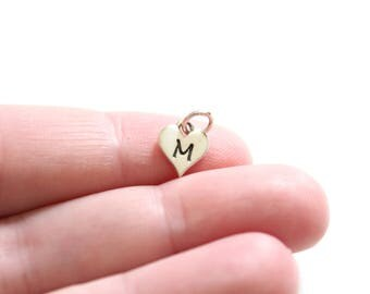 Sterling Silver M Letter Heart Charm, Silver Tiny Stamped M Initial Heart Charm, Stamped M Letter Charm, M Initial Charm, Initial M Charm