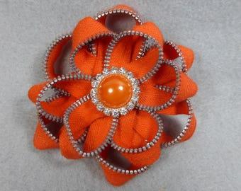 Orange Flower Brooch, Zipper Brooch, Orange Brooch, Orange Pin, Zipper Pin, Zipper Art, Flower Pin, Upcycled, Recycled, Repurposed, Jewelry