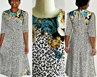 Midi Dress, Midi Dress with Sleeves, Midi Dress Long Sleeves, Office Dress, Wear to Work Dress, Print Dress, Floral Dress, Print Midi Dress