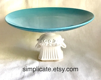 Pretty vintage styled blue and white cake stand cakestand retro cake stand serving plate in aqua teal sandwich high tea afternoon tea