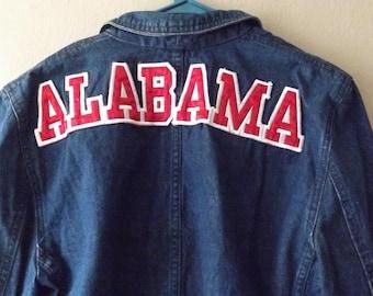 Women's Alabama Crimson Tide Denim Blazer Jacket. Vintage Blue Jean Blazer. Vintage Blazer. Vintage Jacket. Alabama Football. Roll Tide.