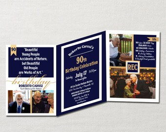 Trifold Birthday Announcement & Invitation ~ Custom Photo Card showcases up to 6 personal Photos ~ Your Choice of Colors