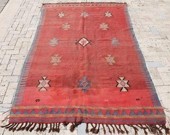 Turkish Kilim Rug 61''x102'' Hand Woven Balikesir Antique Wool Kilim 156x260cm