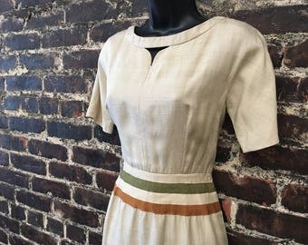 1950s Taupe Sheath Dress. '50s Wiggle Dress w/ Ribbon Stripe Waist and Cutout Neckline. Classic Pencil Dress, by Clementines.