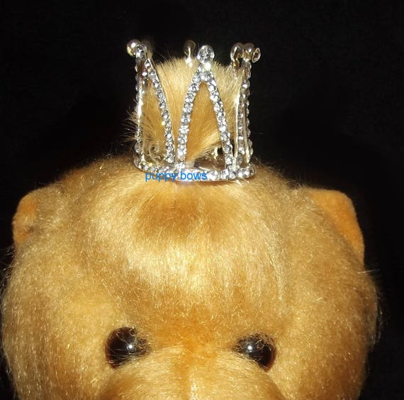 Puppy Bows ~ Rhinestone crown barrette for dogs  ~USA seller