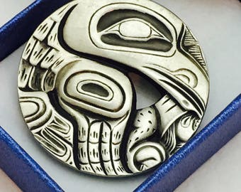 Frederick Pewter Canada Raven Totem Brooch