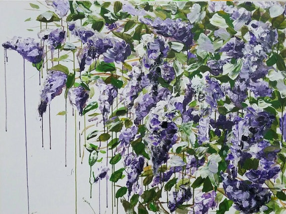 Sample for Custom order Large purple lilac original acrylic painting flower art floral decor wall art large painting  wall art ready to hang
