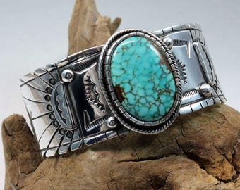 Mountaintop Sunrise Bracelet, size x-small, No. 8 Turquoise, Sterling silver, Cuff Bracelet, Bohemian, Turquoise bracelet, Southwestern