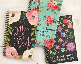 You Belong Among the Wildflowers Spiral Journal | Notebook | Spiral Notebook | School Supplies | Prayer Journal | Prayer notebook | Floral