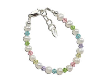 Girls Sterling Silver Bracelet with Freshwater Pearls and Swarovski Crystals Comes in Gift Box for Girls (Daniela)