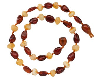 Genuine Baltic Amber Teething Necklace (ATNP-Light Cherry/Milk)
