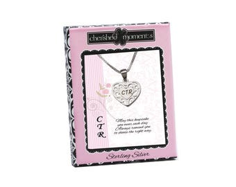 Sterling Silver LDS CTR Charm Necklace a Special Gift for Baptisms comes in a Gift Box