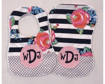 Floral Stripe Bib and Burp Cloth Set with Personalization