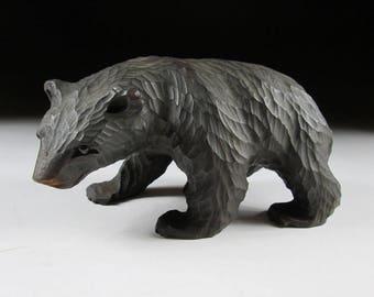 Small Hokkaido Bear Wood Carving, Higuma, Ainu Bear, Koedo