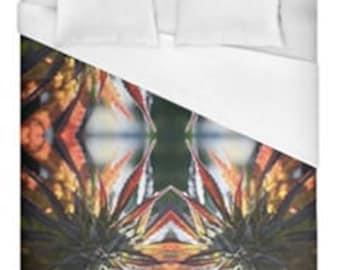Leaf Duvet Cover, Bohemian Duvet Cover Blue Mountain Lion Cannabis Print,Duvet Cover Floral, Leaf Bedding,Hippy Decor, Duvet Cover Full