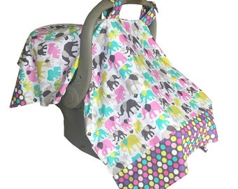 Lightweight Summer Girl Infant Car Seat Cover, Pink Baby Carrier Cover, Car seat Canopy, Girl Baby Shower Gift, Baby Girl Gift