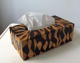 "Tissue Box, Woodburned, Design II, 6"" x 4"" x 4"" (16 cm x 10 cm x 10 cm)"