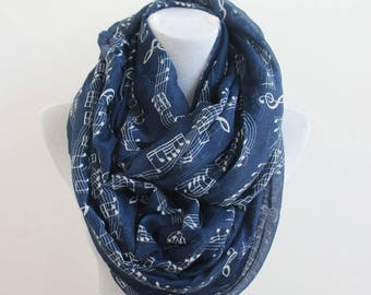 Navy Blue Music Note Infinity Scarf, Music Sheet Scarf, Music Note Scarf, Piano Note Scarf, Pianist Scarf, Gift for Music Teacher