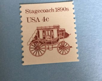 Vintage Unused Postage stamps from the 1980s,  4 cent stamp, Stagecoach, 20 pieces