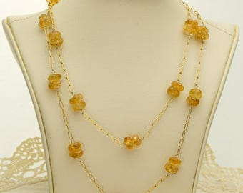 Gold Citrine Necklace 58.7ct (B89)