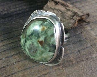 Rainforest ring - sterling silver and rainforest jasper, US size 9