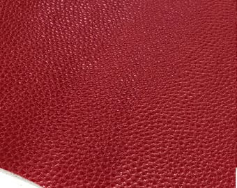 Cherry Red Textured Leatherette Sheet A4 or A5 Size Faux Leather Fabric