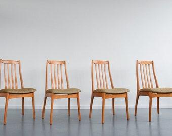 Vintage Set of Four Elm High Back Dining Chairs Made in Hungary