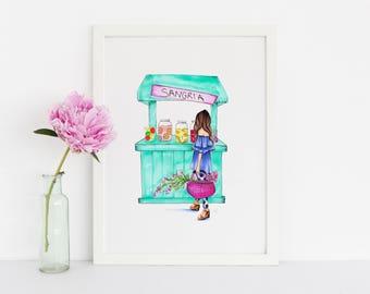 The Sangria Stand (Fashion Illustration Print)