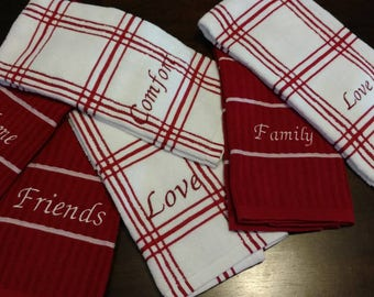 Red Kitchen Towels Embroidered with Encouraging Words - sold in sets of 2