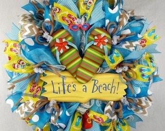Beach Mesh Wreath, Life's A Beach Flip Flop Wreath, Summer Wreath, Flip Flops Wreath