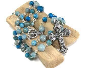 Turquoise Jasper Rosary; Blue Rosary; Blue Green Rosary; Gemstone Rosary' Turquoise Rosary