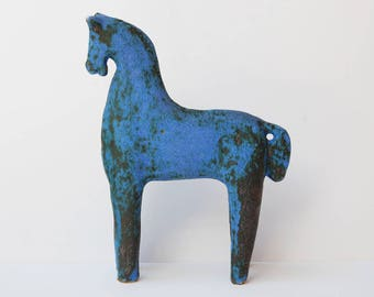 Mid-century modernist European stylised blue ceramic horse