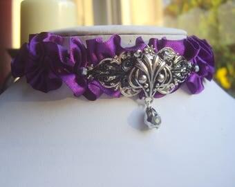Gothic Victorian Style Demon Purple Ruffled Ribbon Choker