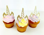 Cupcake  Topper, birthday cupcake toppers, Unicorn Birthday cupcake topper, gold cupcake topper, birthday cake decorations