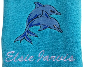 Personalised Embroidered Dolphin Bath Towel