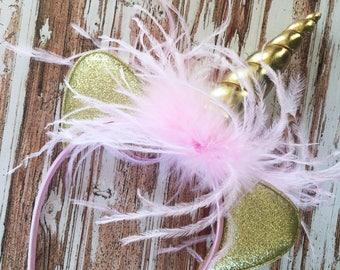 Unicorn Headband - Gold Unicorn Horn Headband - Dress Up Unicorn Head Band - Pink Feather Headband - Girls Birthday Headband - Costume Dress