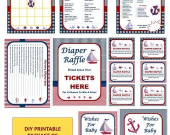 Nautical Baby Shower Game, Printable Nautical Game, Nautical Baby Game, Nautical Shower Game, Nautical Bingo, Anchor -Printables 4 Less 0062