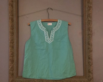 minty sleeveless embroidered blouse
