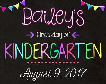 First Day Of Kindergarten Sign - Digital - First Day of School Chalkboard - Any Grade - First Grade - Kindergarten - Back To School Sign