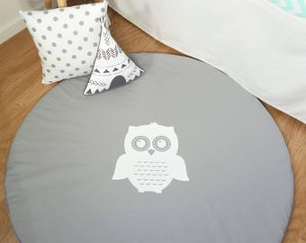 Floor mat, tummy time, play mat - Grey with white owl