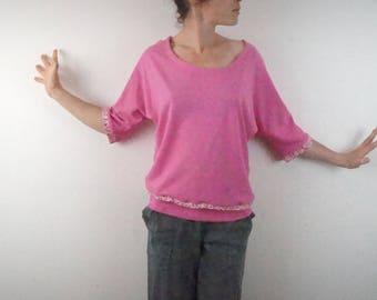 hemp and organic cotton 3/4 bat t-shirt pink tip and liberty
