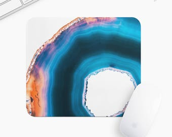 Marble Stone Mouse Pad, Blue Stone Mousepad, Rectangle or Round Circular, Gift mp0011