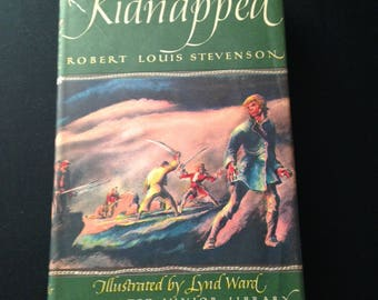 Vintage, 1948. Kidnapped by Robert Louis Stevenson. Illustrated by Lynd Ward. Illustrated Junior Library Edition. Grosset & Dunlap.