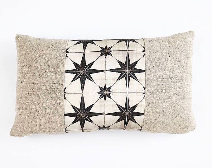 READY TO SHIP Belgian Linen And Moroccan Tile Print Linen Textile Lumbar Pillow Cover 12x20