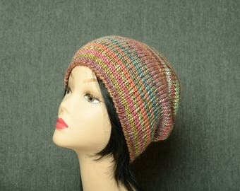 Slouchy Hand Knit Woman beanie hat chunky slouchy hat winter clothing gift
