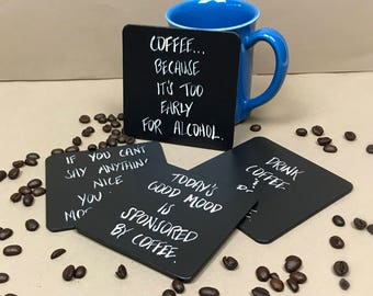 Coffee Coasters, Coffee Gift, Gifts for Coffee Lovers, Coffee Gifts, Funny Coasters, Coasters, Mug Coasters, Set of Four Coffee Coasters