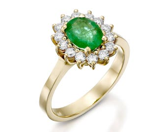 1 carat Green Emerald Engagement Ring-Diamond ring with Emerald-Green Emerald-Yellow Gold Engagement Ring-Diana Ring-Natural Emerald Ring