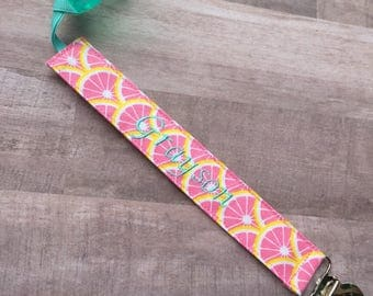 Lemon Pink Grapefruit Pacifier Clip--Soothie Paci--Binky Holder--Yellow Spring Summer--Baby Girl--Shower Gift-Monogrammed Personalized Name
