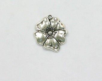 Sterling Silver 3-D Poppy Flower Charm
